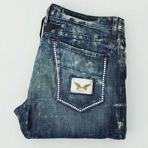 New ROBIN'S JEAN sz 40 Slim Straight Zippered Jean